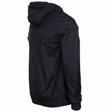 Cheap polyester men's windbreakers, jackets w/ hood in plain black ...