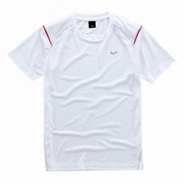 36de8619 ... China Men's polyester sports T-shirts made of polyester mesh in red, ...