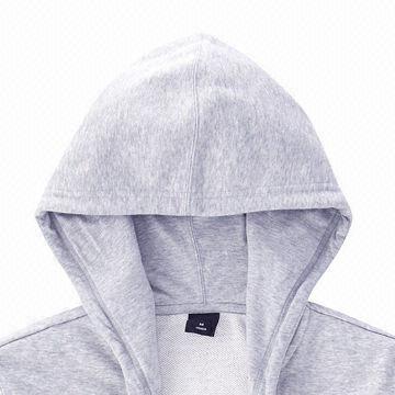 China Classic plain gray men's zip hoodies, sweatshirts,made of cotton fleece, custom printing/embroidery