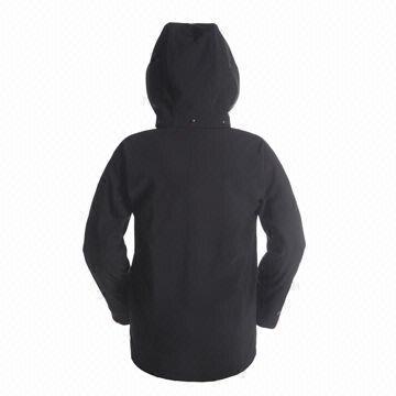 ... China Plain Black Women's Softshell Jacket, Detachable Hood, Custom  Embroidery or Printing Logo,