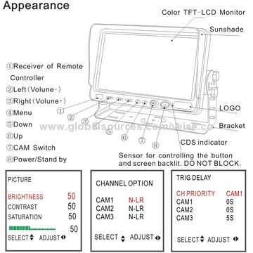 pillow tft lcd color monitor wiring instructions