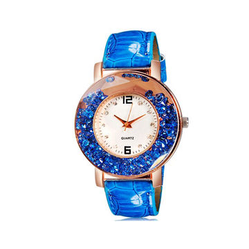 b1bc0aaead7f New Elegant Jewelry Women Rolling Bead Decorated Round Quartz Watch with PU  Leather Strap (Blue)