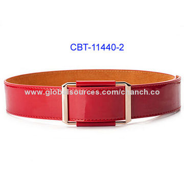688a60fabbbe2 Shiny Wide Black Patent PU Belt, Stitching on Both Sides, Available in  Various Colors