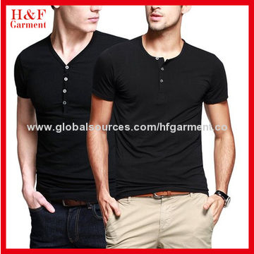 f953db81f ... China Men's short-sleeved fitting T-shirt, button placket front/cotton/  ...