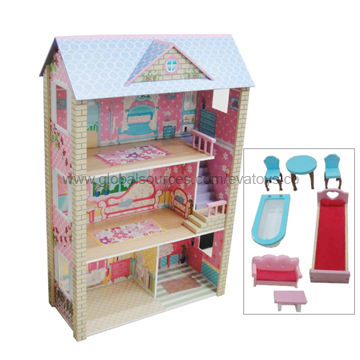 China Hot Selling Wooden Doll House With Doll House Furniture In
