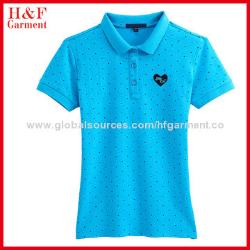 China Women S Short Sleeved Polo Shirts Embroidery Logo Full