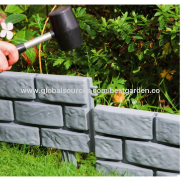 china pack of 4 brick effect garden edging made of plastic different colors - Plastic Garden Edging