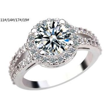 Fashionable Design Platinum-plated Colorful Cubic Zirconia Rhinestone Rings for Women