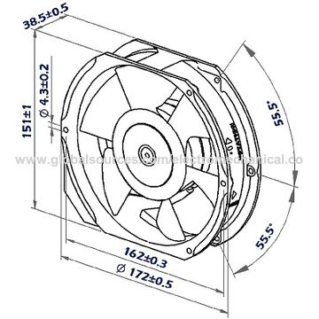 China 172mmx151mmx38mm Aluminum Housing Steel Impeller Dc Axial Fan