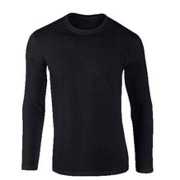China Plain black long sleeve T-shirt for men on Global Sources