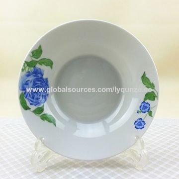 China Wholesale new bone white porcelain soup plates with bule ...