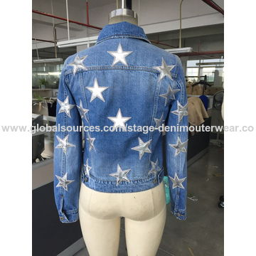2017 new women's patch denim jacket