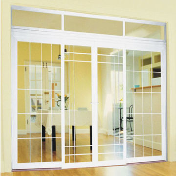 ... China White Color PVC Sliding Door With Double Glass