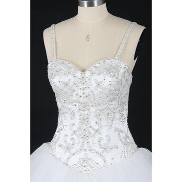 2017 Real Wedding Gown, Sleeveless Heaving Beading Ruffle Tull A Line Dress