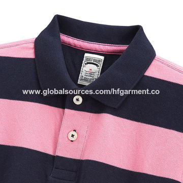 China Navy And Pink Striped Mens Polo Shirt Made Of Yard Dyed