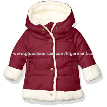 27e3631125a4 China Girls  quilted fleece hooded jacket for infant baby snap front ...