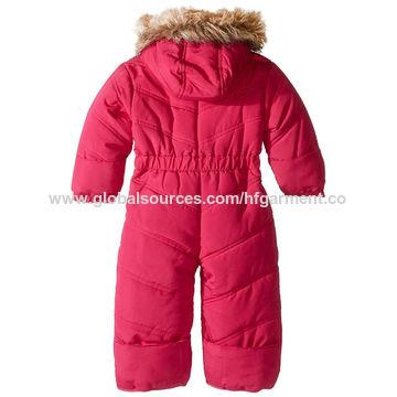 01f44aca0766 China Faux fur hood kids skiwear baby jumpsuit outdoor cheap warm on ...