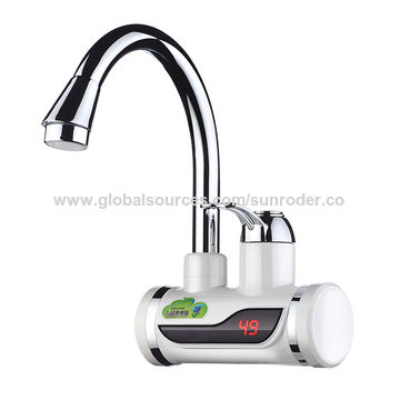 Electric instant hot water faucet with temperature display