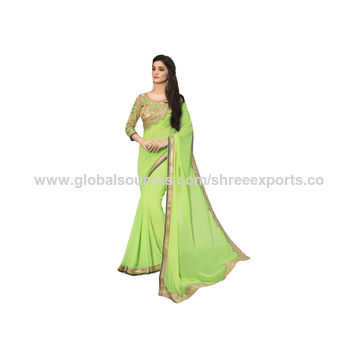 Best Pale Green Georgette Designer Saree