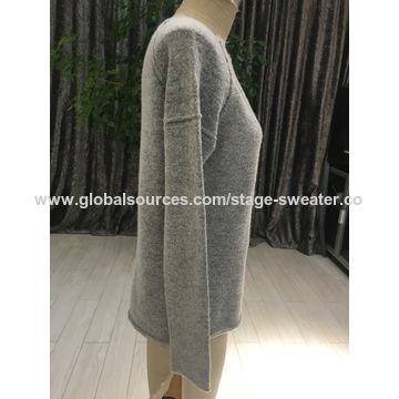 Women's sweater, autumn& winter style, common style,boat neck, side slits at bottom