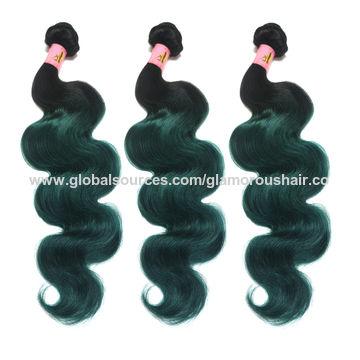 Green Hair Virgin Human Hair Weaves with Baby Hair