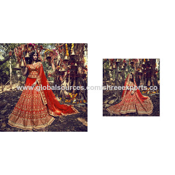 Insightful Orange Taffeta Silk Lehenga Choli