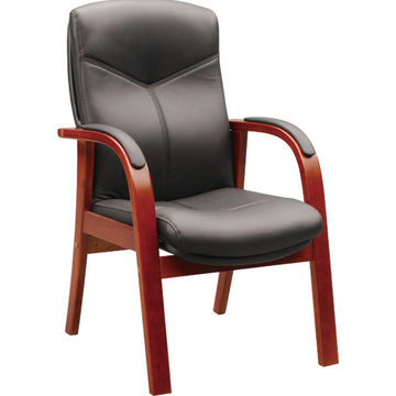 ... China Low Price Good Quality Solid Wooden Frame Black Meeting Chair,  Leather Seat With Armrest ...