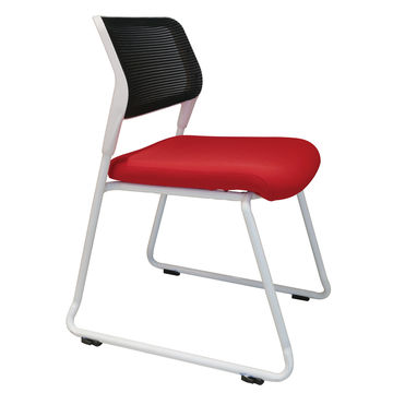 China Low Price Good Quality Fabric Seat Mesh Back Office Chairs No Wheels Arms