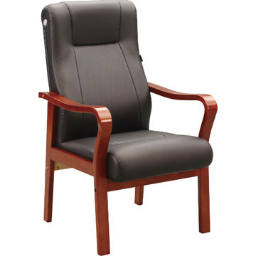 ... China Low Price Black Comfortable Solid Wooden Chair, PU Leather Seat  Without Armrest Use In
