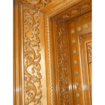 ... India Hand Carved Main entrance Solid Wood Door with Side Panel and Both Side Carving & India Hand Carved Main entrance Solid Wood Door with Side Panel and ...