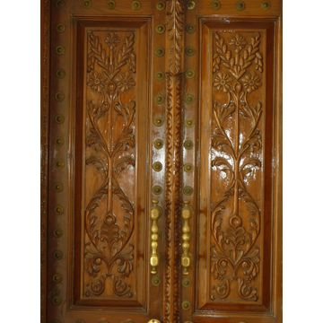 India Hand Carved Main entrance Solid Wood Door with Side Panel ...