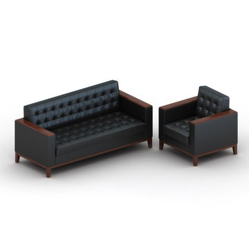 China 3 People Seat Modern Pu Leather Office Sofa Sets Steel Frame With Customized Colors