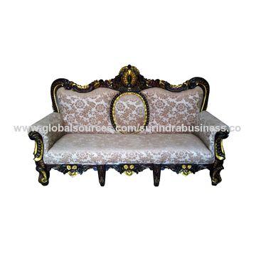 India Hand Carved Teak Wooden Sofa Set