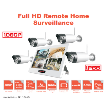 Wireless CCTV camera kits with 4 FHD cameras and 10-inch LCD monitor