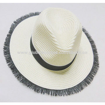 41987f69 ... China Vogue Tassel Brim Straw Hats for Ladies', Decorated with Black  Band and Metal ...
