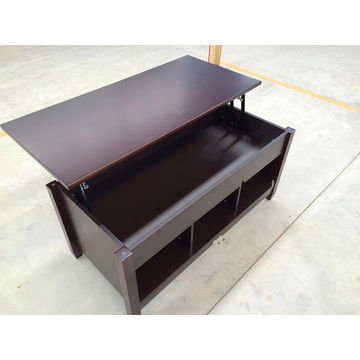 China Black Wooden Finish Lift Top Coffee Table With Bottom