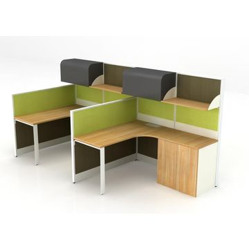 2 Persons Modular Office Workstation Partitions With Steel File Cabinets