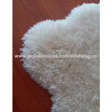 China Polyester 8cm long hair faux sheepskin rug white faux rug