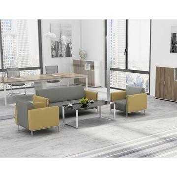 China Luxury Leather Sofa Office Furniture Reception Room Pu Set