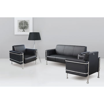 office sofa sets. China Classic Synthetic Luxury Black Office 3 Seater PU Sofa Set For Sitting Reception Sets