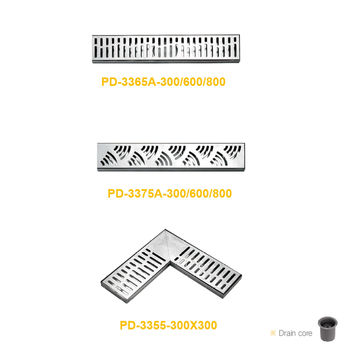 Stainless steel PVD finished long casting floor drain