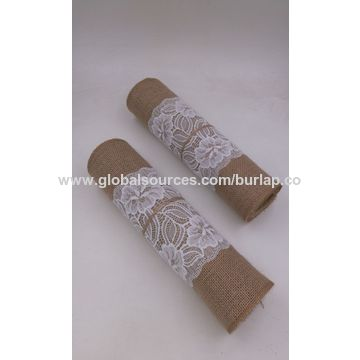 ... China Natural Jute Tablecloth, Jute Runners 30cm*3m With White Lace ...
