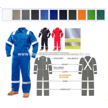 a4398d5a73dc ... China Orange Red and Navy Blue FRC Clothing Flame Resistant Cotton  Coverall with Reflective Band