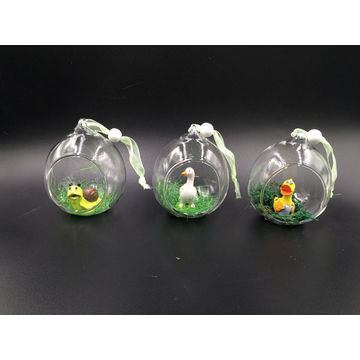 China Glass Opening Globe Crafts With Resin Frog Inside Hanging