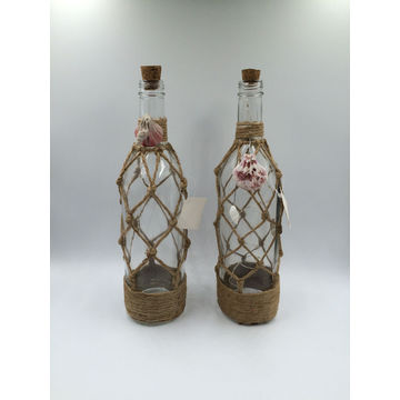 China Decorative Glass Bottle With LED Candle Inside Lantern Crafts Interesting Decorated Wine Bottles With Lights Inside