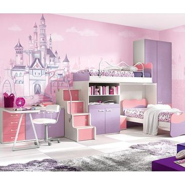 China Gris* Pink castle wallpaper Girl living room pink dreamy ...