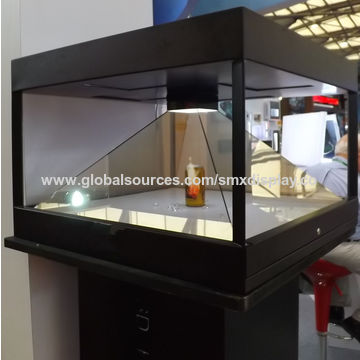 D Hologram Exhibition : China degree d pyramid hologram display showcase for