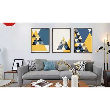 China Gris* Geometrical pattern framed print home decor wall framed ...