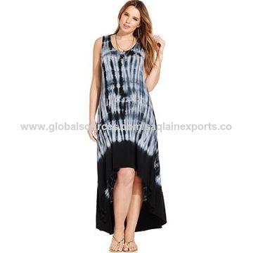 India Summer Beach Dress Tie Dye Boho Dress Long Beachwear Rayon