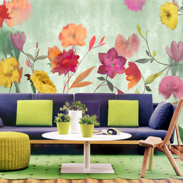 china gris oil painting tropical floral wallpaper living room wall